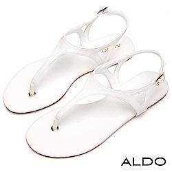 ALDO 原色T字三角鏤空金屬繫帶低跟涼鞋~氣質白色