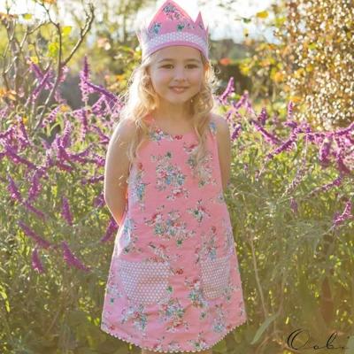 Oobi 粉紅碎花點點雙面兩穿式背心洋裝