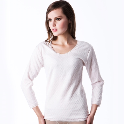 【LADY】柔情棉棉系列 三層暖棉_圓領保暖衛生衣(粉色)
