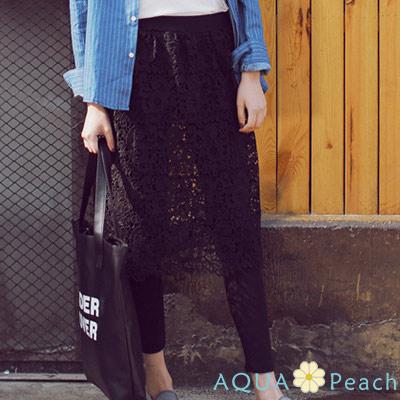 甜美蕾絲雕花假兩件褲裙-共二色-AQUA-Peac