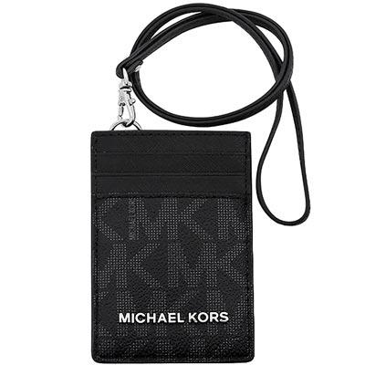 MICHAEL KORS 防刮牛皮雙色LOGO識別證件夾(黑色)
