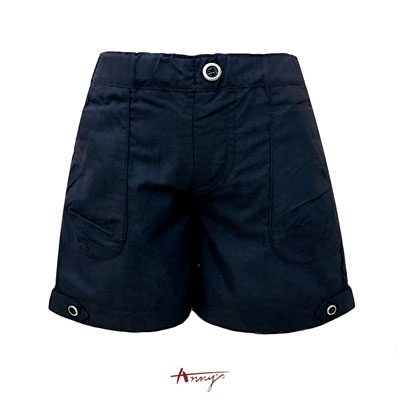 Annys高質英倫鈕扣反摺造型短褲*2391藍