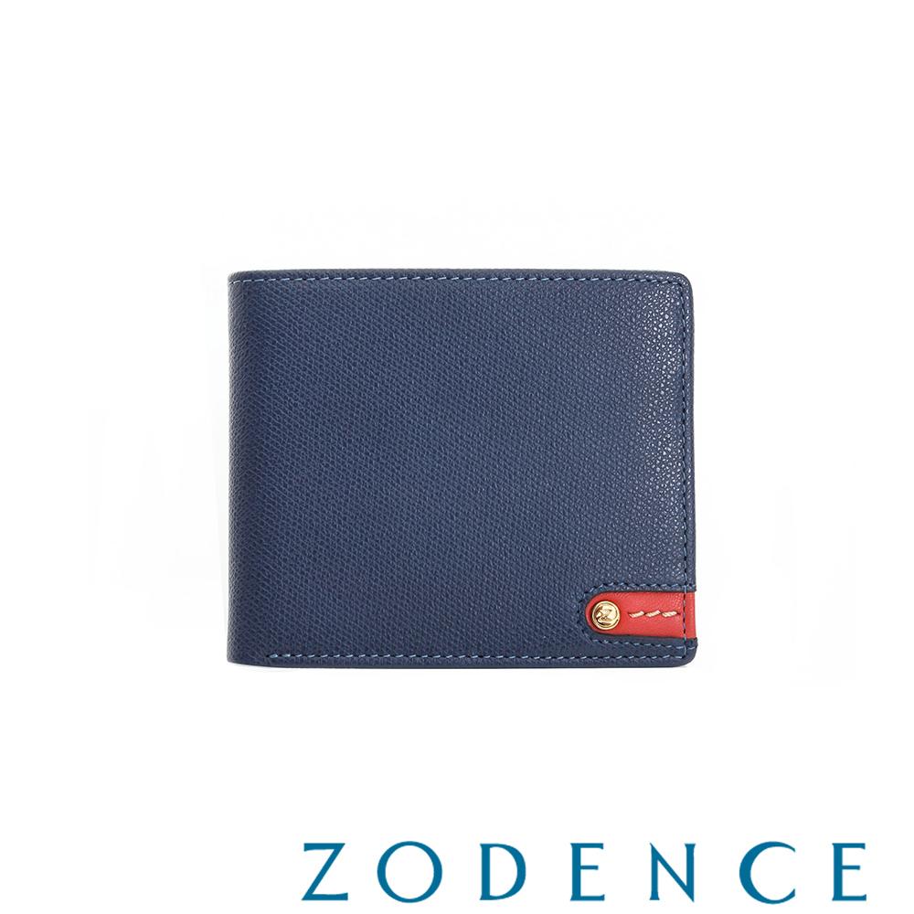 ZODENCE MAN 義大利牛皮系列紅底配色LOGO三折短夾 藍