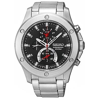 SEIKO精工  重磅強悍三眼計時腕錶(SPC095P1)-黑色/44mm