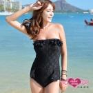 天使霓裳 簡約魅力 一件式連身泳衣(黑M~XL)