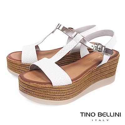 Tino Bellini西班牙進口蛇紋工字厚底涼鞋_ 白