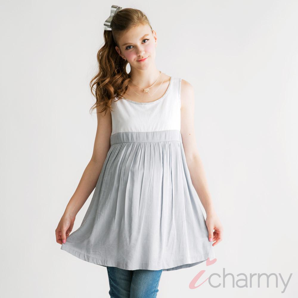 愛俏咪I charmy 親膚拼接燙金滾邊背後拉鏈腰線修飾打摺感背心洋裝