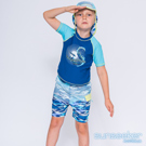 澳洲Sunseeker抗UV防曬短袖泳衣+泳褲+防曬泳帽-小男童三件式/海洋迷彩