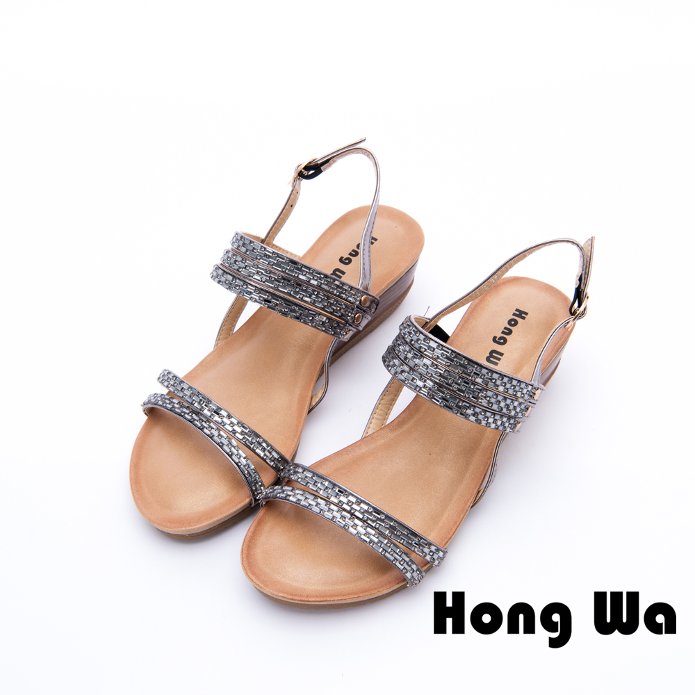 Hong Wa - 海洋悠閒金屬造型休閒涼鞋 - 灰