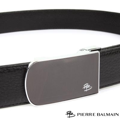 PB-皮爾帕門-經典原角方框簡約黑底Logo款-頭層牛皮自動扣皮帶-710