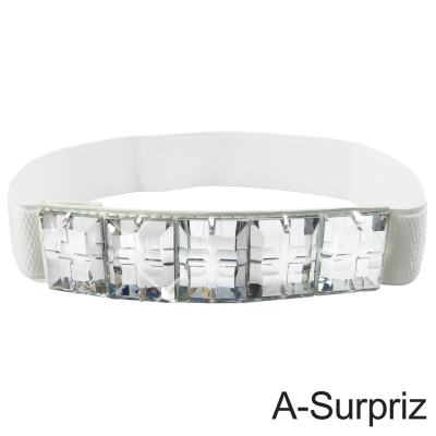 A-Surpriz 華麗耀眼方型晶鑽彈性腰帶(氣質白)