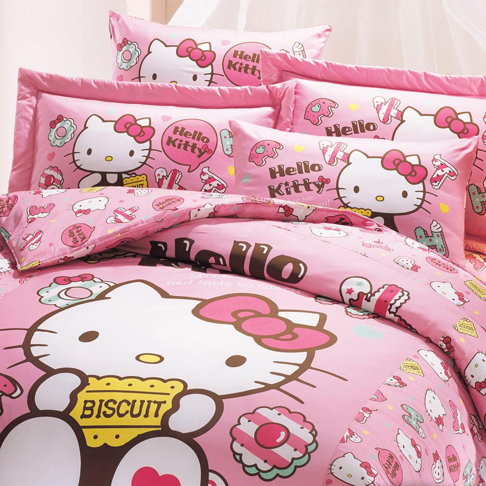 鴻宇 抗菌 Hello Kitty 繽紛甜心-單人三件式兩用被床包組