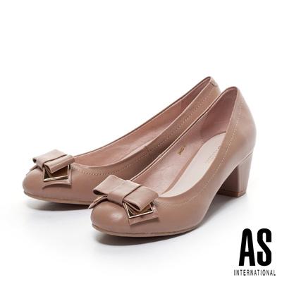AS-金屬飾片蝴蝶結粗跟鞋-粉