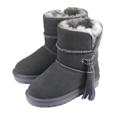 Swan天鵝童鞋-大童_流蘇雪靴-8690灰