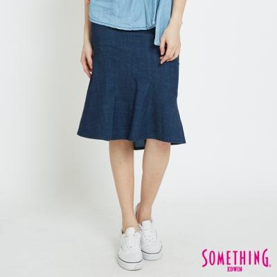 SOMETHING 天絲®合身中長魚尾裙-女-原藍磨