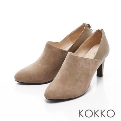KOKKO-復刻女伶異材質拼接高跟鞋-可可棕