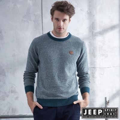 JEEP 質感圓領刷毛長袖針織衫 -灰綠