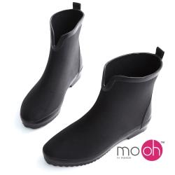 mo.oh愛雨天-V口潛水布輕量化短筒雨鞋-黑