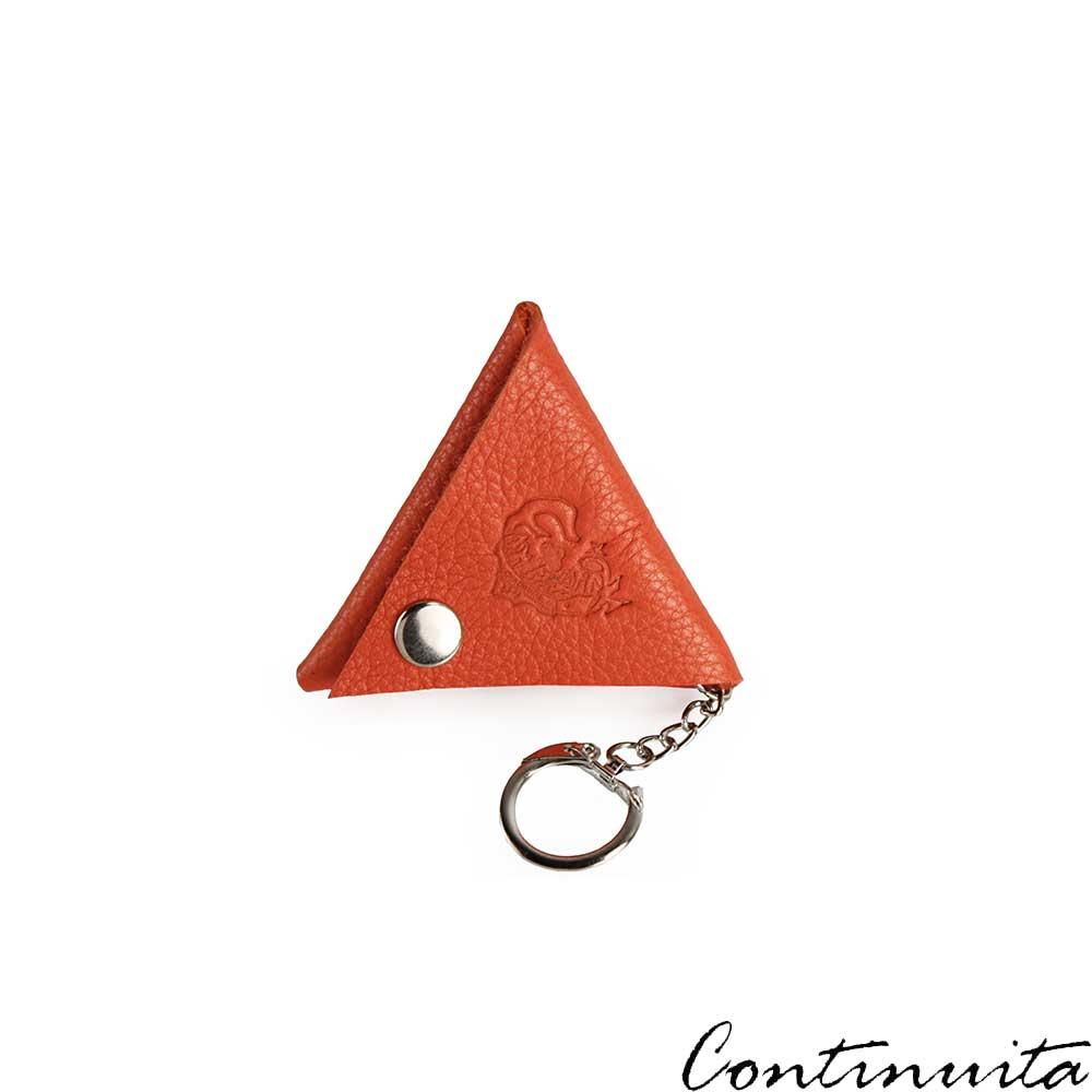 Continuita 康緹尼 頭層牛皮日本小巧LOGO三角形鑰匙包-橘色