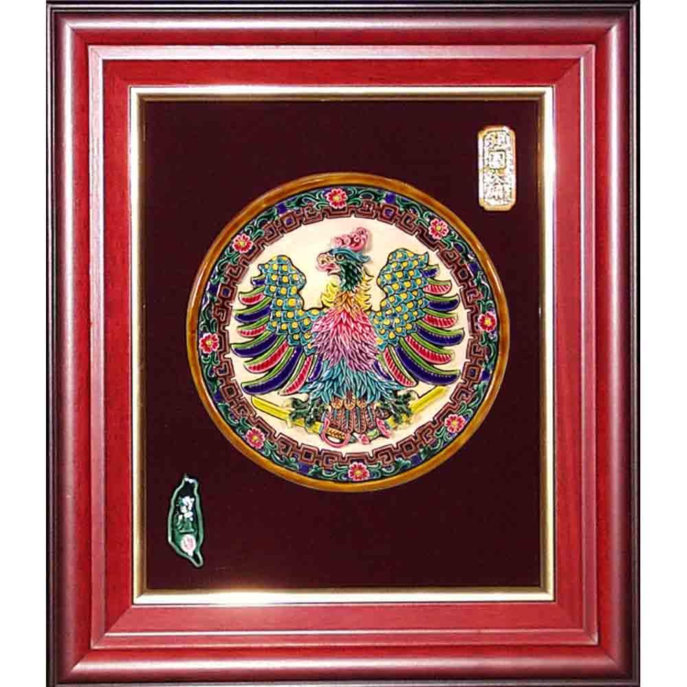 鹿港窯-交趾陶開運裝飾壁飾-鴻圖大展(圓形)