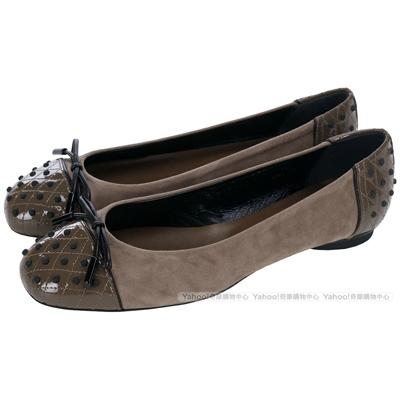 TOD'S Dew 可可棕材質拼接豆豆綴飾芭蕾舞鞋(展示品)