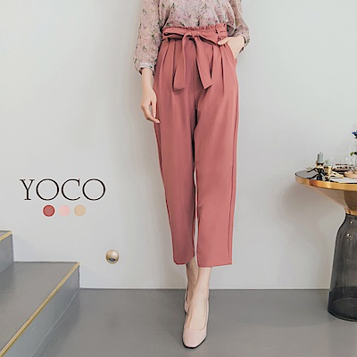 東京著衣-yoco 修身剪裁經典蝴蝶結綁帶西裝褲-S.M.L(共三色)