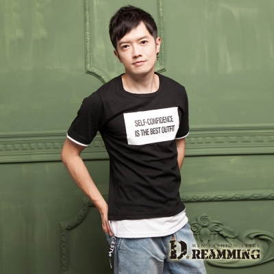 Dreamming 韓系潮感字母假兩件長版短T-共二色
