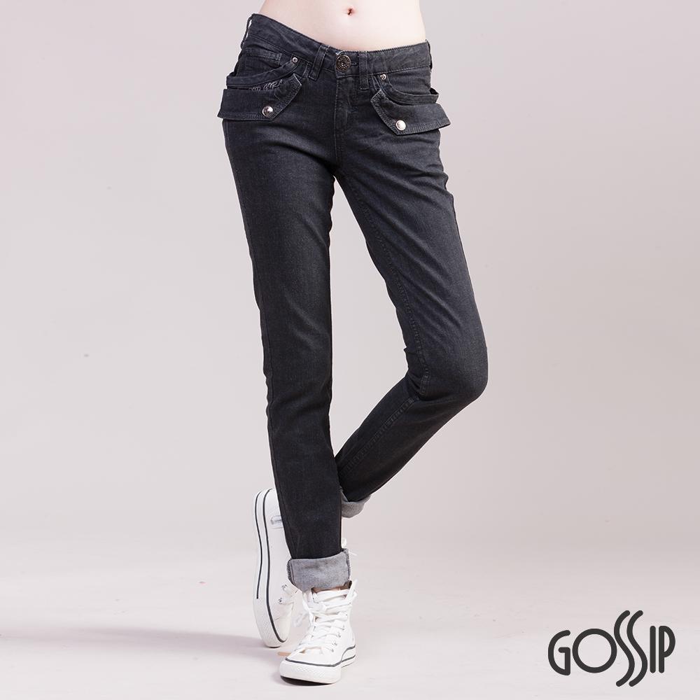 Gossip-低腰緊身窄款褲-黑
