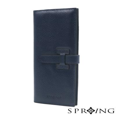 SPRING-牛皮質感名媛長夾-深藍