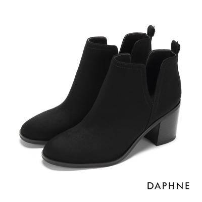 達芙妮DAPHNE 踝靴-側V剪裁粗跟絨布踝靴-黑