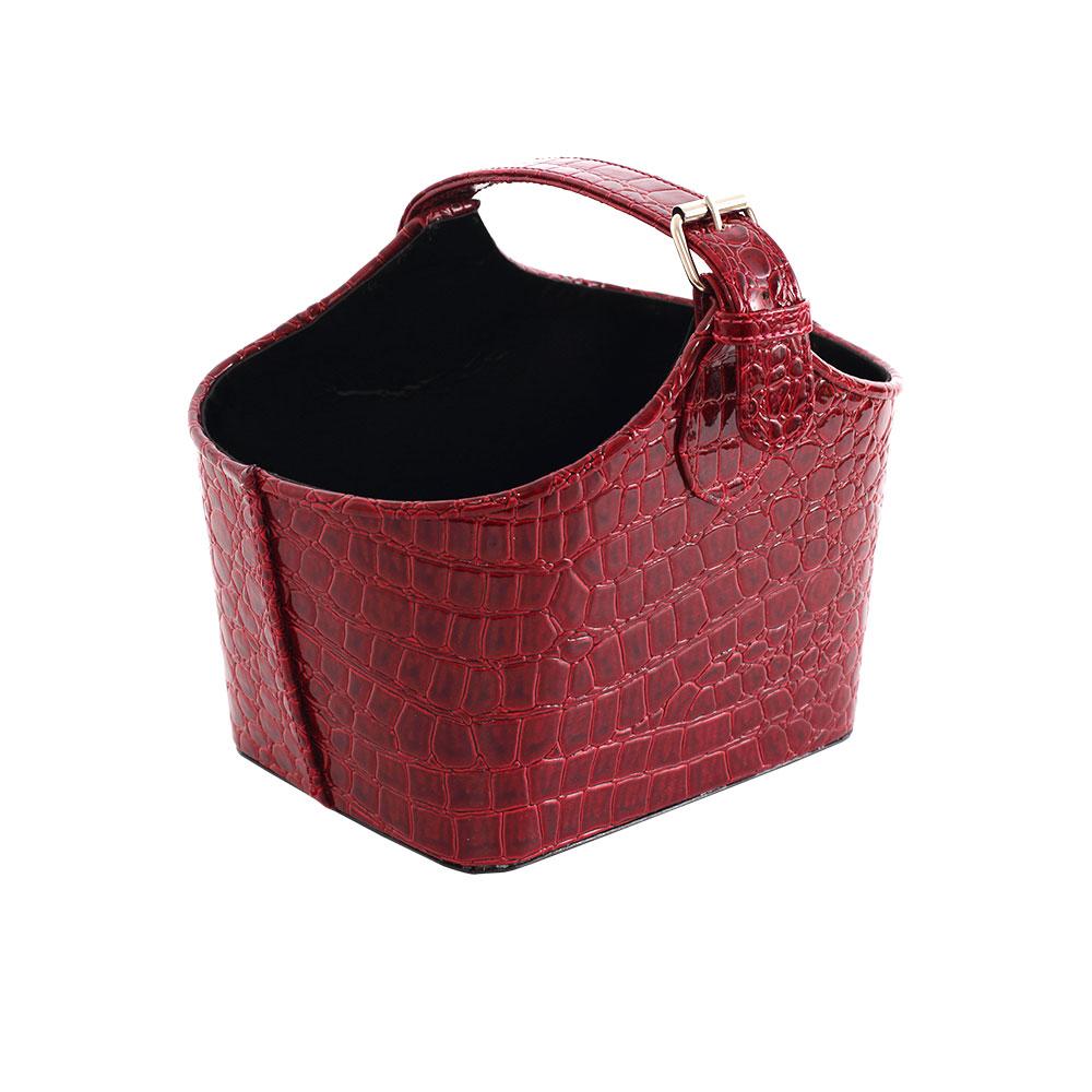 LOVEL 經典鱷魚紋皮革收納-置物盒/手提籃(復古紅)