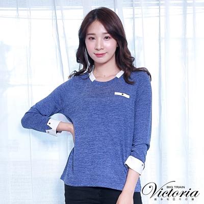 Victoria 異材質拼接九分袖T-女-深藍
