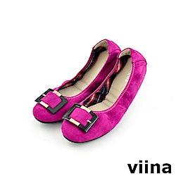 viina 經典款絨布方扣摺疊鞋MIT-桃紅色
