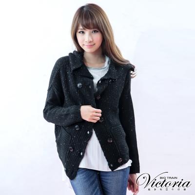 Victoria 雙排扣翻領厚針織外套-女-黑色