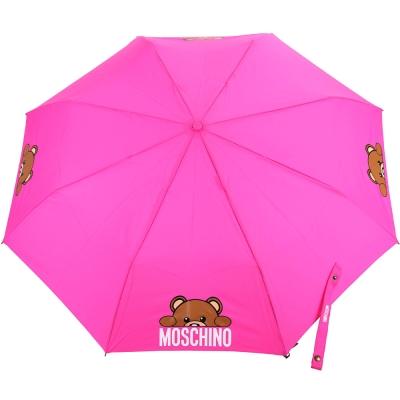 MOSCHINO Hidden Teddy 泰迪熊造型握把摺疊晴雨傘(桃色)