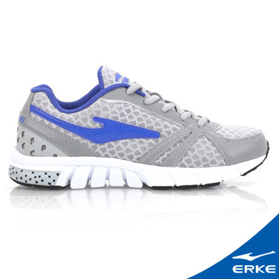 ERKE 鴻星爾克。男運動常規慢跑鞋-淺灰/紫羅蘭