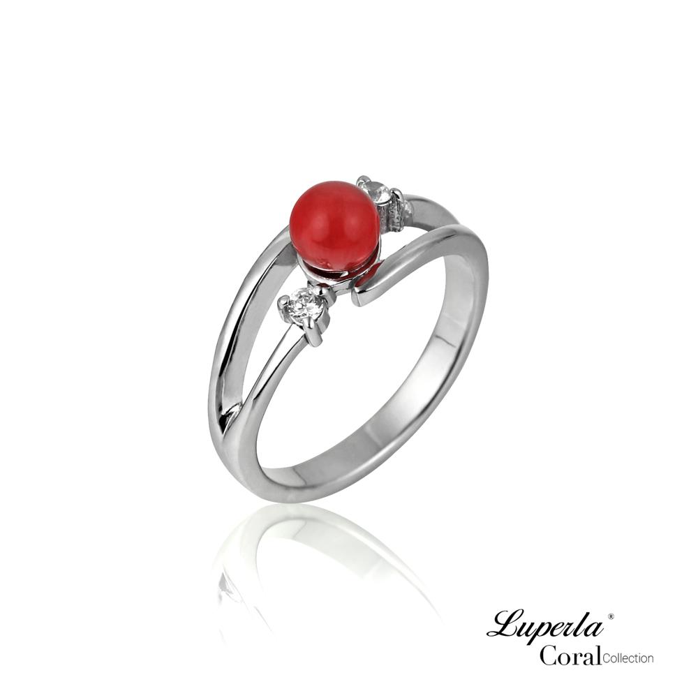 大東山珠寶 全紅珊瑚純銀戒指 桃花報喜