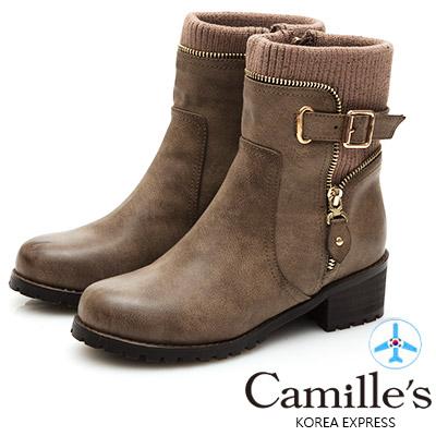 Camille's 韓國空運-拼接針織毛線皮帶拉鍊短靴-駝色