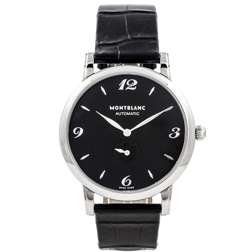 MONTBLANC萬寶龍 107072 STAR系列 自動黑面小秒皮帶腕錶-39mm