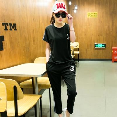 韓系-簡約數字條紋上衣-九分褲運動套裝組-共四色