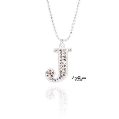 Anna Lou Of London倫敦品牌 J立體字母水晶項鍊-大/白