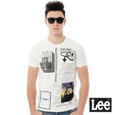 Lee 百搭耐看圓領照片印花短袖T恤-男款-白色