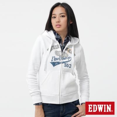 EDWIN-連帽外套-LOGO貼布繡拉T-女-白色