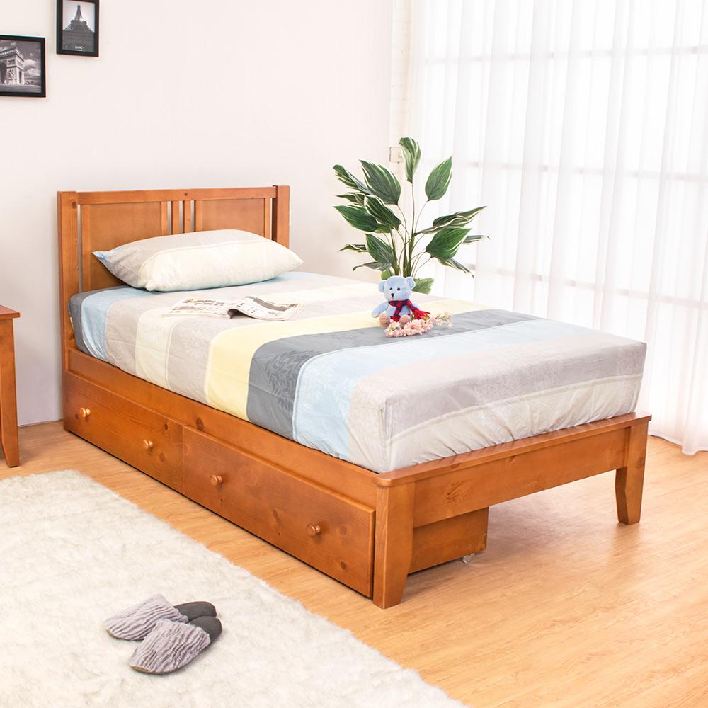 Bernice-蒂琪3.5尺實木單人床架-抽屜型