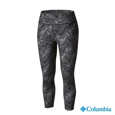 【美國Columbia哥倫比亞】快排彈性七分褲-女-黑色印花(UAL83050FD)