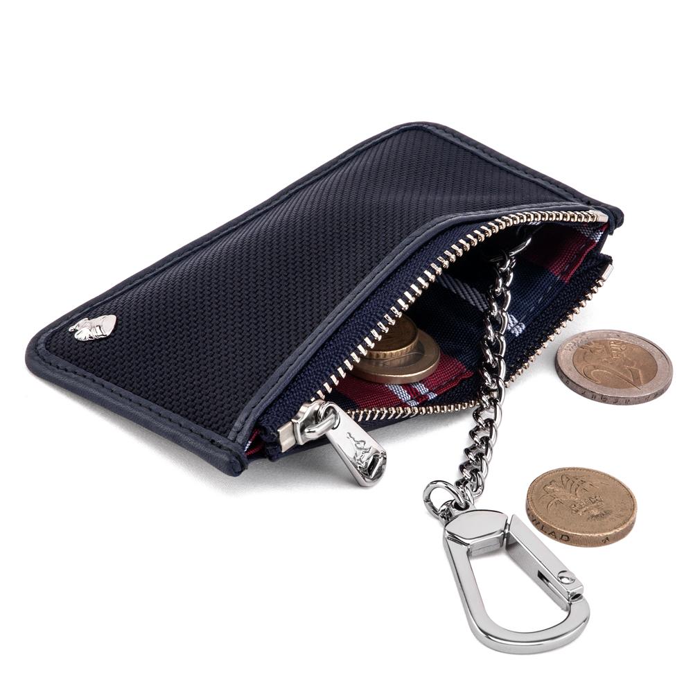 PORTER - 內斂品味DEAN+鑰匙掛環零錢包(小) - 深藍