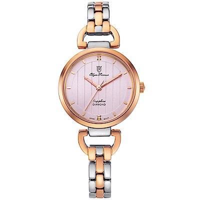 Olym Pianus 奧柏表 典雅直線壓紋時尚腕錶-雙色x粉 2483LSR