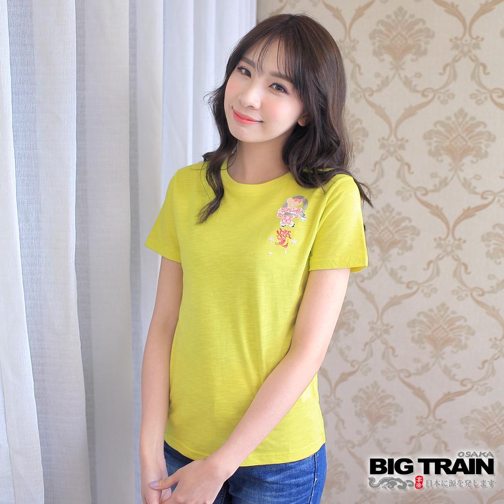 BIG TRAIN 燃夏和服小熊女款-女-亮黃綠