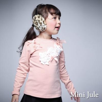 Mini Jule 童裝-上衣 立體花拼接蝴蝶結長袖棉質T恤(粉)
