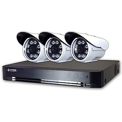士林電機-1080P 4路DVR套餐+3支1080P 8陣列紅外線槍型攝影機